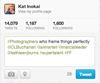 Here, both 'FF' and 'photographers' are searchable tags that can help grow everyone's following.